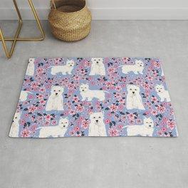 Westie cherry blossoms west highland terrier cutest fluffy white dog breed pattern art Rug
