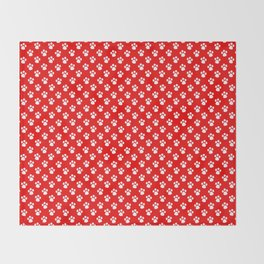 Tiny Paw Prints Pattern - Bright Red & White Throw Blanket