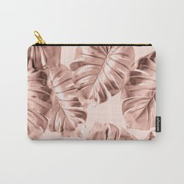 Rose Gold Monstera Leaves on Blush Pink 2 Carry-All Pouch
