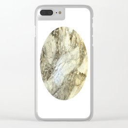 White Marble in Earth Tones Clear iPhone Case