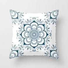 Mandala in Indian Ink - Blues & White - Boho - Festival Gear Throw Pillow