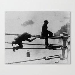 Brooklyn Bridge Painters Vintage Photograph (1915) Canvas Print