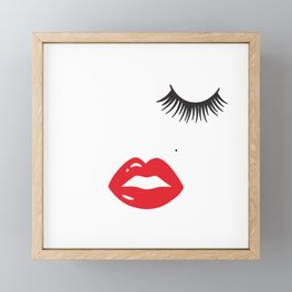 Woman Face Woman Motif Lips Eyes Face Framed Mini Art Print
