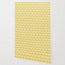 Mid Century Modern Flower Pattern Mustard Yellow Wallpaper