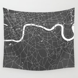 Gray on White London Street Map Wall Tapestry
