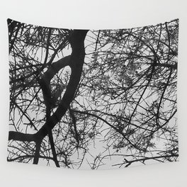 Bare Tree Branches First Flowers Wall Tapestry