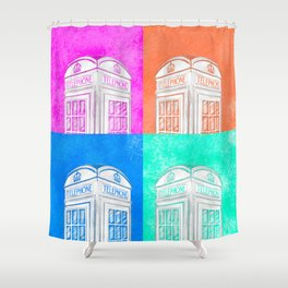 Classic British Phone Booth - Pop Art Style Shower Curtain