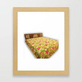 Handmade Fruit Print Kantha Bedcover Framed Art Print