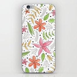 whimsical floral print iPhone Skin
