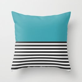 Half Striped Gray - Solid Turquoise Throw Pillow