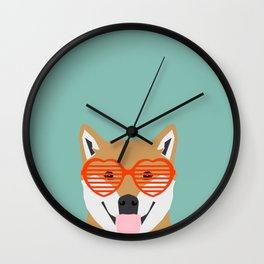 Shiba Inu Love - Gifts for pet owners dog person gifts shiba inu gifts customizable dog gifts cute Wall Clock
