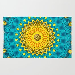 Birds of Paradise Geometric Circle Pattern \\ Tropical Beach House Vibes \\ Green Yellow Blue Colors Rug