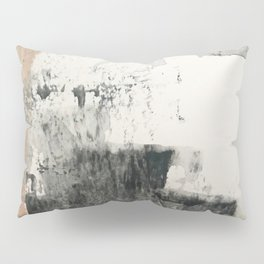 Peace and Quiet [1]: a pretty, minimal abstract piece in gray and peach by Alyssa Hamilton Art Pillow Sham