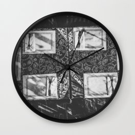 dining table with classic tablecloth in black and white Wall Clock