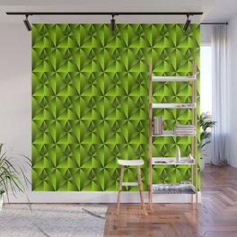 Intersecting bright green rhombs and black triangles with square volume. Wall Mural
