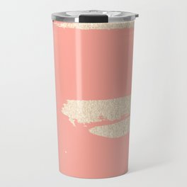 Simply Brushed Stripe in White Gold Sands on Salmon Pink Travel Mug