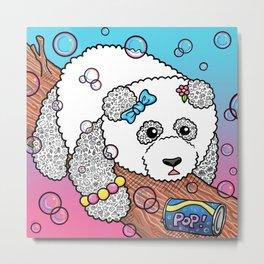 Cute Panda Bubble Pop Doodle pink version Metal Print