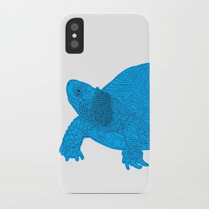Turtle Illustration Blue iPhone Case