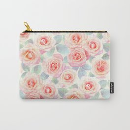 Faded Vintage Painted Roses Carry-All Pouch