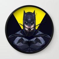 bat man Wall Clocks featuring Bat man by Muito