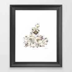 Family Mountain - Pug Pile Framed Art Print