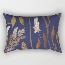 Fall Foliage on Navy Rectangular Pillow