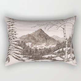 NORTHEAST SNOWFALL VINTAGE PEN AND PENCIL DRAWING Rectangular Pillow