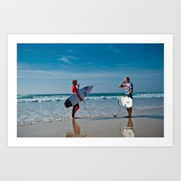 Pro Surfers before the battle Art Print
