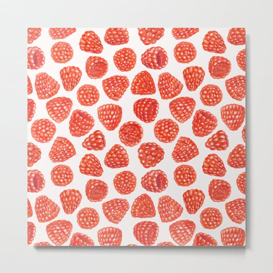 Watercolor raspberry pattern Metal Print
