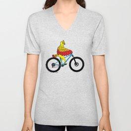 Yellow Orange Red Bicycle Owl Unisex V-Neck