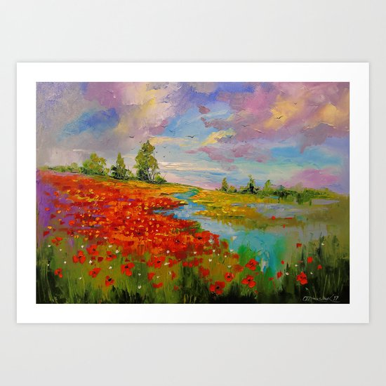 Poppies by the lake Art Print