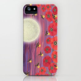 purple sky, fireflies, snails, and poppies iPhone Case