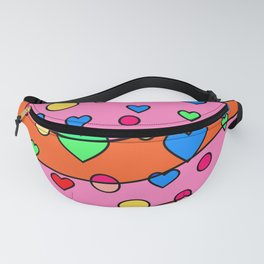 Floating Hearts and Circles - Pink Orange Fanny Pack