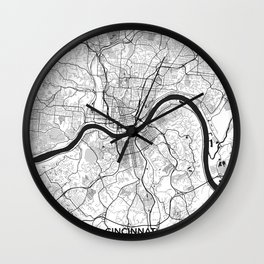 Cincinnati Map Gray Wall Clock
