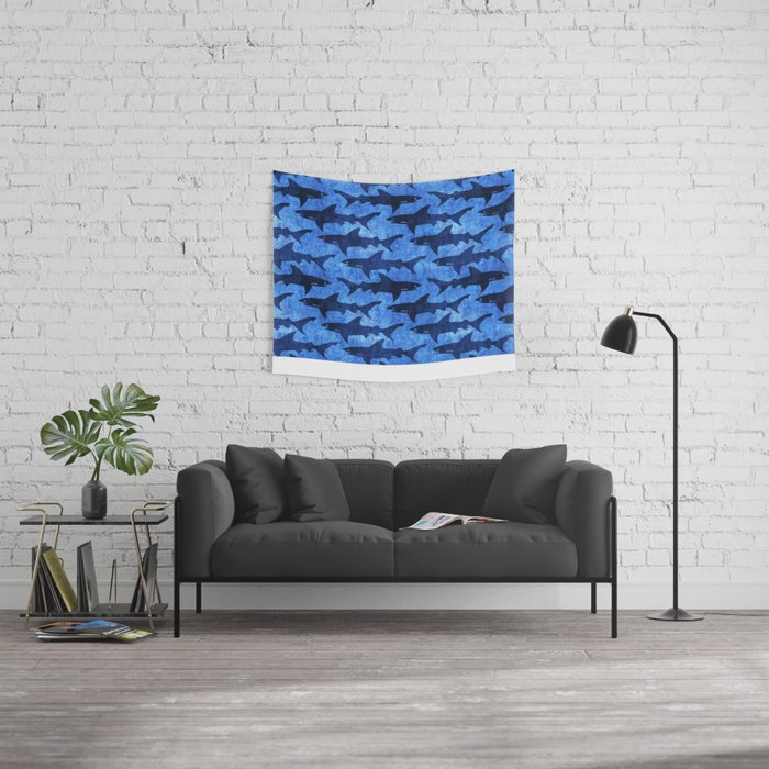 Sharks in the Blue, Blue Sea Wall Tapestry