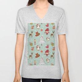 Christmas Elements Reindeer Design Pattern Unisex V-Neck