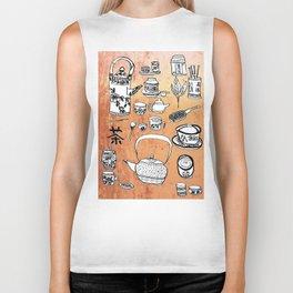 Chinese Tea Doodles 2 Biker Tank