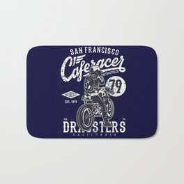 Caferacer Vintage Motorcycle Typography Bath Mat