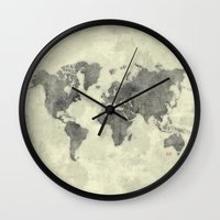 vintage map Wall Clocks featuring World Map Black Vintage by City Art Posters