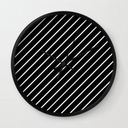 Hot 80s Style Diagonal Black and White Geometric Pattern Wall Clock