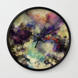 Contemporary Abstract Painting in Purple / Violet Color Wall Clock