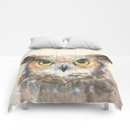 Owl Watercolor Great Horned Owl Painting Comforters
