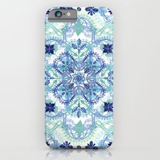 Navy Blue, Green & Cream Detailed Lace Doodle Pattern iPhone 6 Slim Case