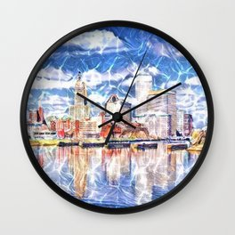 Providence Waterfront, Rhode Island landscape painting Wall Clock