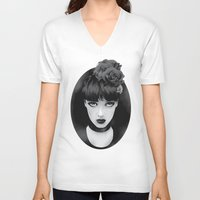 lady V-neck T-shirts featuring Lady by KUI29