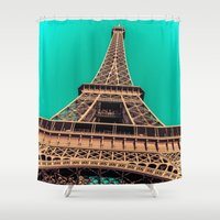 eiffel tower Shower Curtains featuring Eiffel Tower by A/B Photography