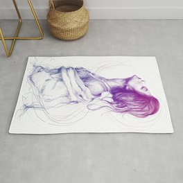 Beautiful Woman Lady Portrait Fashion Art Rug