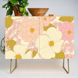 Pink Pastel Vintage Floral Pattern Credenza