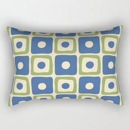 Mid Century Modern Square Dot Pattern 871 Blue and Green Rectangular Pillow