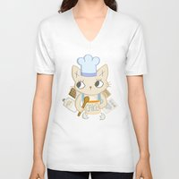 baking V-neck T-shirts featuring Cat is baking a Cake by Camart